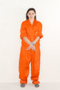 Prisoner portrait of female in orange uniform Royalty Free Stock Image