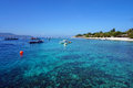 Pristine azure waters of bali sea off gili trawangan s coast Royalty Free Stock Images