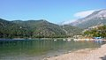 A pristine beach in marmaris turkey from the tourist areas full of peace and serenity Royalty Free Stock Photo
