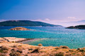 The pristine coastline and crystal clear water of the island of rab croatia Royalty Free Stock Image