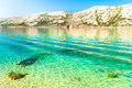 The pristine coastline and crystal clear water of the island of rab croatia Royalty Free Stock Photography