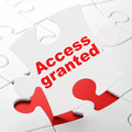 Privacy concept access granted on puzzle white pieces background d render Royalty Free Stock Images