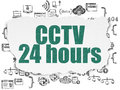 Privacy concept cctv hours on torn paper painted green text background with hand drawn programming icons d render Royalty Free Stock Images