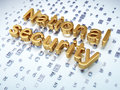 Privacy concept golden national security on digital background d render Stock Photos