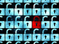 Privacy concept: red closed padlock icon on Royalty Free Stock Photo
