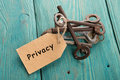 privacy concept - vintage key with tag with inscription Royalty Free Stock Photo