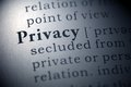 Privacy dictionary definition of the word Stock Image
