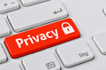 Privacy a keyboard with a red button Royalty Free Stock Photo