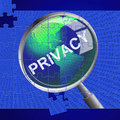 Privacy magnifier indicates forbidden classified and confidentiality meaning research private confidential Stock Images