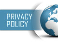Privacy policy concept with globe on white background Royalty Free Stock Images