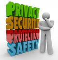 Privacy security protection safety thinker d words and beside a person thinking about keeping personal information and data safe Stock Photo