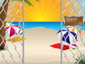 Private beach entrance with wired fence sandy Royalty Free Stock Images