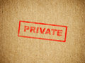 Private box text on a cardboard shipping Stock Image