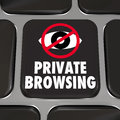 Private browsing internet security key web surfing privacy and an eye symbol on a computer laptop keyboard to illustrate Stock Image
