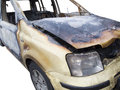 Private car burn out on white front side view of a burnt small background Stock Photos