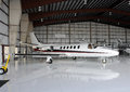 Private jet in hangar Royalty Free Stock Photo