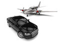 Private jet with a Luxury Car