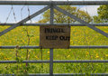 Private Keep Out sign on gate Royalty Free Stock Photo
