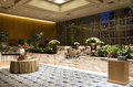 Private party room in a hotel beautiful with decorations of flowers plants and nice furniture luxury Stock Photos