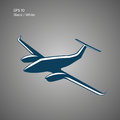 Private plane vector illustration icon. Twin engine aircraft. Vector logo. Royalty Free Stock Photo
