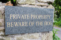 Private property beware of the dog Royalty Free Stock Image