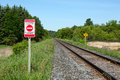Private property warning sign railroad and bilingual english french Stock Photography
