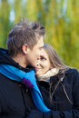 Private relationships young caucasian couple standing closely to each other while looking to eyes Royalty Free Stock Image
