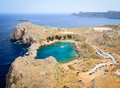 Private sea tiny heart shaped bay and tourist attraction in lindos greece Stock Images