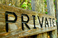 Private a sign on a wooden fence Royalty Free Stock Images
