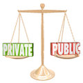 Private vs public information details confidential secrecy the words versus on a scale weighing the pros and cons and benefits for Stock Photo