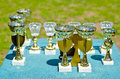Prize cups a lot of outdoors Royalty Free Stock Photography