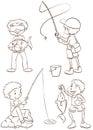 Prości nakreślenia chłopiec łowić Obraz Stock