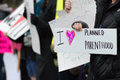 Pro-choice Planned Parenthood demonstration group with signs Royalty Free Stock Photo