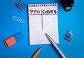 Pro cons word writing on notebook Stock Photos