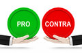 Pro and contra signs on hands Royalty Free Stock Images