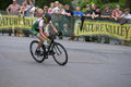 Pro cyclist completes turn at uptown criterium minneapolis united states june takes tight in minneapolis it is stage four of the Royalty Free Stock Photos