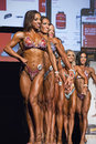 Pro figure line up competitors including leah berti jennifer brown tanya chartrand and janaina ferreira pose at the ifbb vancouver Stock Photography
