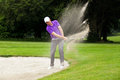 Pro golfer bunker shot a professional hitting his ball out of a with the sand and ball in mid air Stock Photos