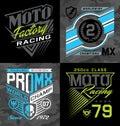 Pro motocross racing emblem t-shirt graphics