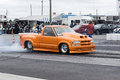 Pro truck napierville dragway canada sept wheel spinning by the winner in category during a final run at the napierville dragway Royalty Free Stock Photography