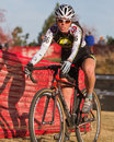 Pro Woman Cyclocross Racer Stock Image