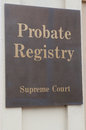 Probate registry sign on a building exterior Royalty Free Stock Image