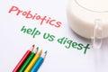 Probiotics help us digest handwritten on paper Stock Images