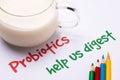 Probiotics help us digest handwritten on paper Stock Photography