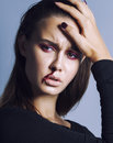 Problem depressioned teenager with bleeding nose, real junky close up mainstream angry concept Royalty Free Stock Photo