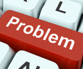 Problem key means difficulty or trouble on keyboard meaning dilemma Royalty Free Stock Images