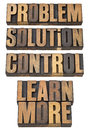 Problem, solution, control in wood type Royalty Free Stock Photos