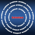 Problem and solution problems concept text on blue background Royalty Free Stock Photo