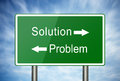 Problem and solution road sign of Stock Photos