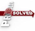 Problem solved successful solution to issue a is resolved according the arrow marked over the word illustrating a resolution Royalty Free Stock Photo